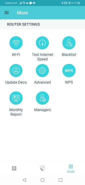 Ecranul More din aplicația Deco