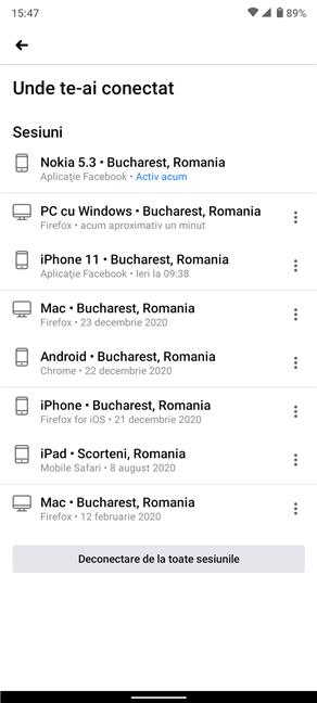 Vezi lista completă a dispozitivelor în aplicația de Android Facebook