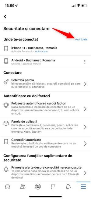 Apasă Vezi toate pe iPhone pentru a accesa lista de dispozitive conectate la Facebook