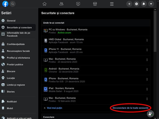 Cum te deconectezi de pe Facebook pe toate dispozitivele din browserul tău