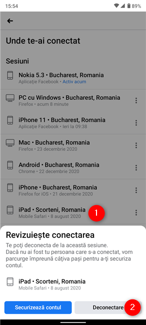 Cum te deconectezi de pe Facebook din Android