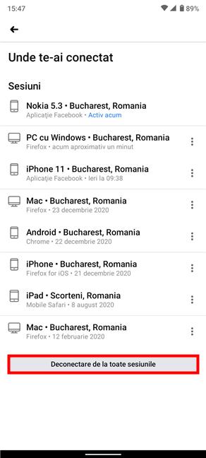 Deconectează-te de la toate sesiunile folosind aplicația Facebook pentru Android