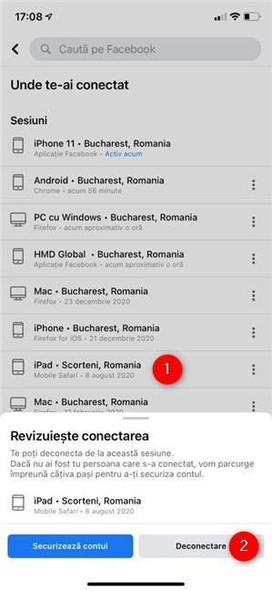 Cum te deconectezi din Facebook pe iPhone sau iPad