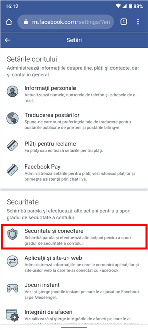 Accesează Securitate și conectare