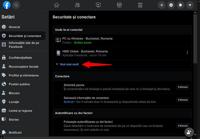 Apasă pe Vezi mai mult pentru a accesa lista cu toate dispozitivele conectate la Facebook