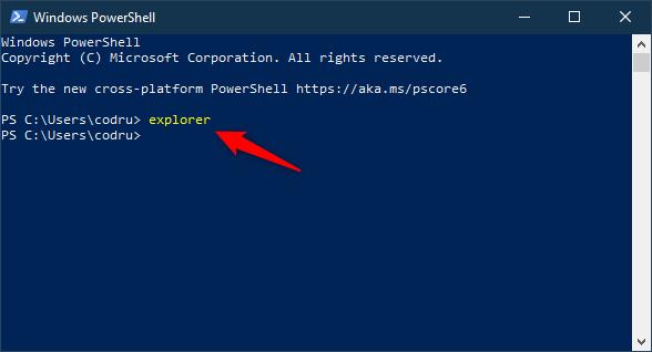 Deschide (Windows) File Explorer folosind Linia de comandă sau PowerShell