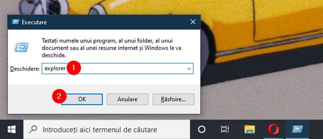 Deschide File Explorer sau Windows Explorer din fereastra Executare