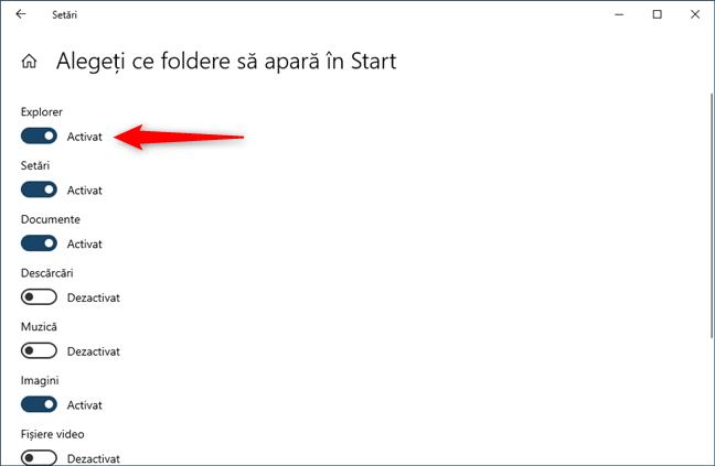 Activare Explorer în Setări -> Personalizare -> Start -> Alegeți ce foldere să apară în Start