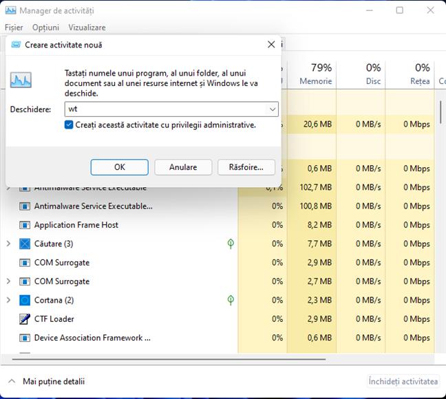 Pornește Windows Terminal din Manager de activități