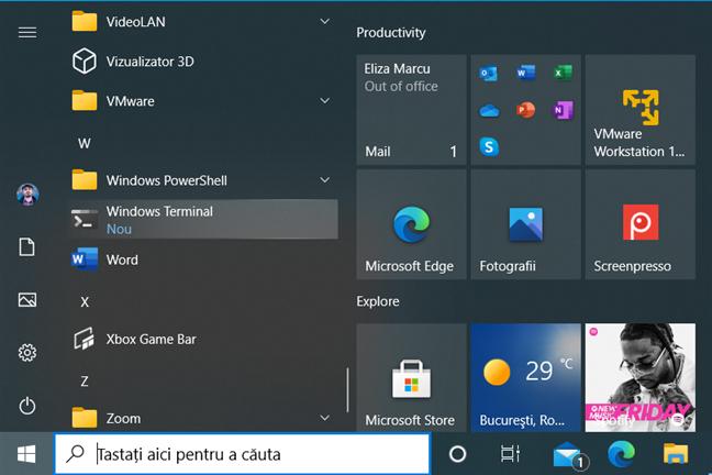 Windows Terminal în Meniul Start din Windows 10