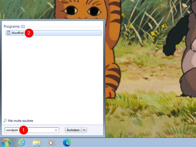 Deschidere WordPad folosind căutarea în Windows 7