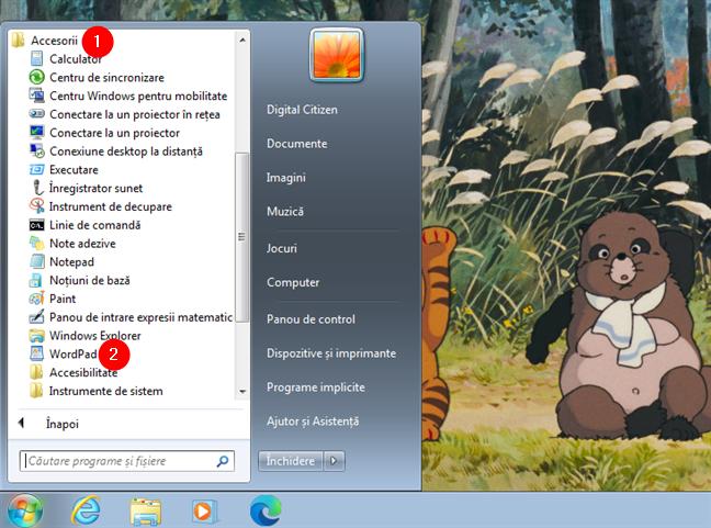 Deschide WordPad în Windows 7 din Meniul Start