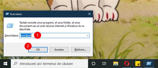 Deschidere WordPad din caseta Executare