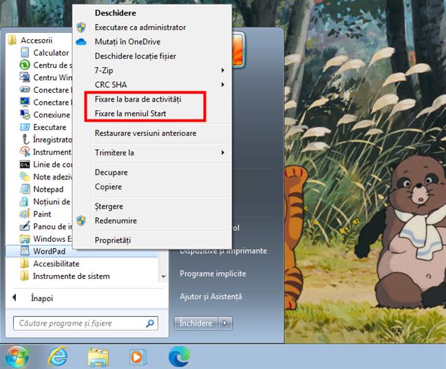 Fixare la bara de activități și Fixare la meniul Start pentru WordPad în Windows 7