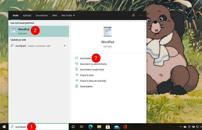 WordPad în Windows 10: Deschidere folosind căutarea