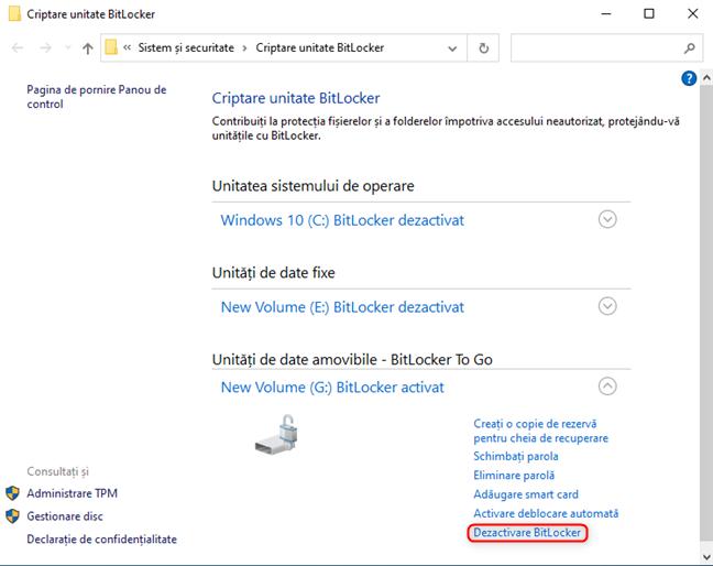 Dezactivează BitLocker de pe unitatea ta amovibilă