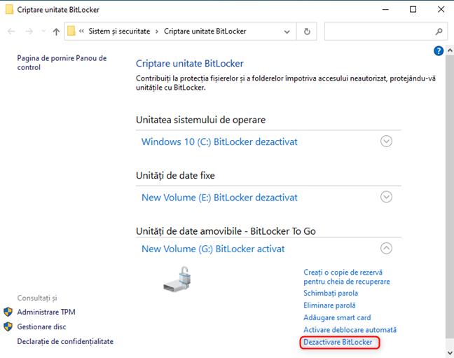 Dă clic sau apasă pe Dezactivare BitLocker