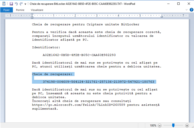Cheia de recuperare BitLocker