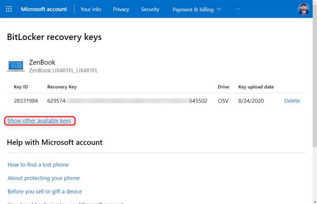 Accesează toate cheile de recuperare BitLocker