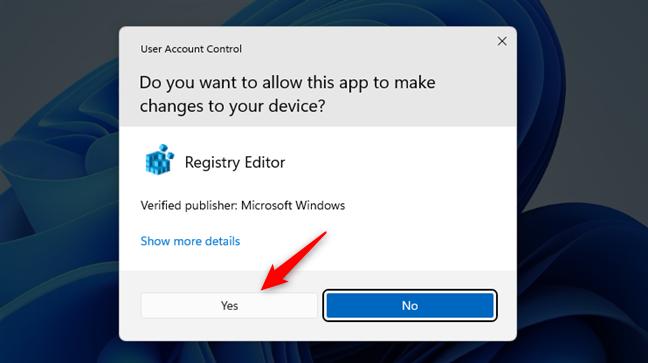Permite Registry Editor să facă modificări pe PC