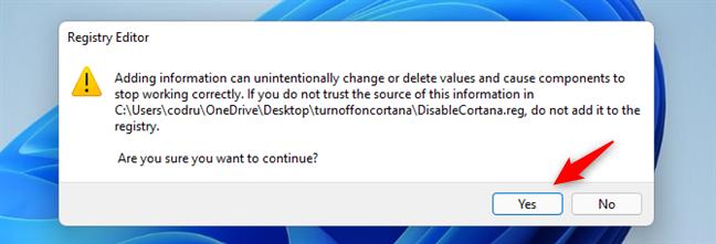 Acceptarea adăugării informațiilor noi în Registrul Windows