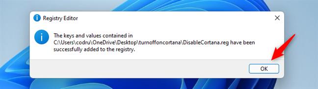 Informațiile au fost adăugate în Registrul Windows