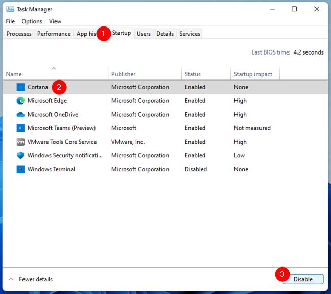 Dezactivarea pornirii Cortanei o dată cu Windows