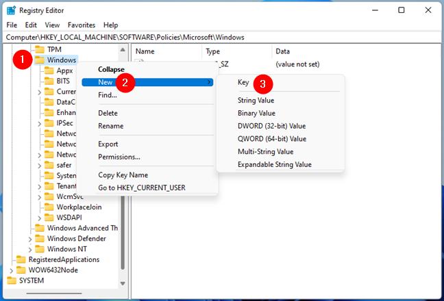 Crearea unei noi chei/folder în Registrul Windows