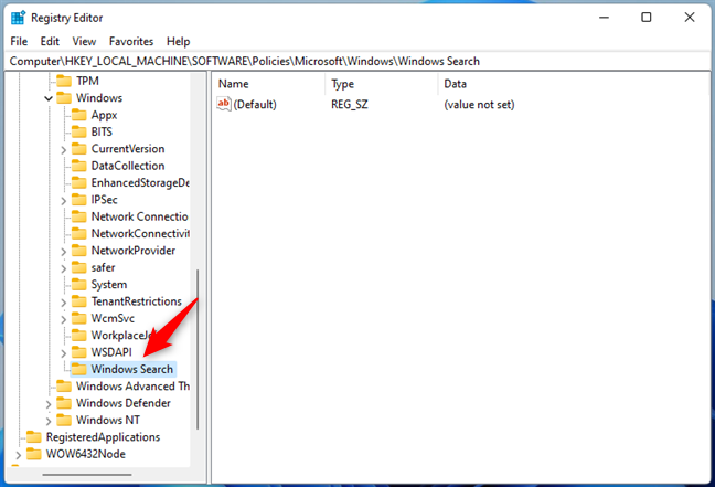 Denumirea cheii Windows Search