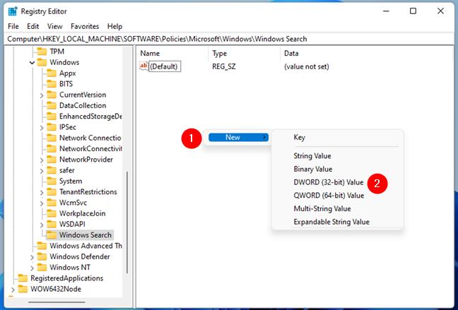 Crearea unei noi chei DWORD în Windows Search