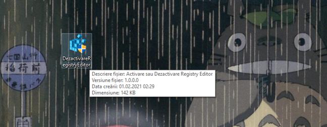 Fișierul executabil DezactivareRegistryEditor.exe realizat de Digital Citizen