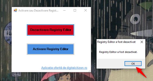 Registry Editor a fost dezactivat