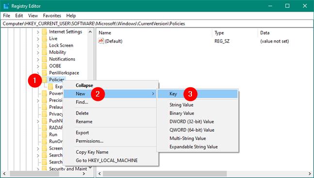 Crearea unei chei noi în Registrul Windows