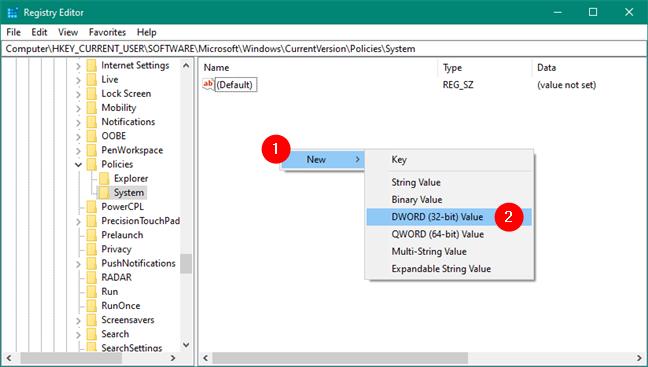 Creare New DWORD (32-bit) Value în Registry Editor