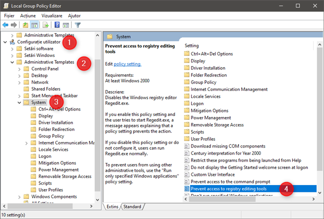 User Configuration -> Administrative Templates -> System