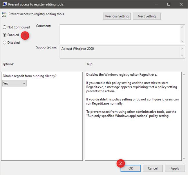 Activare setare Prevent access to registry editing tools