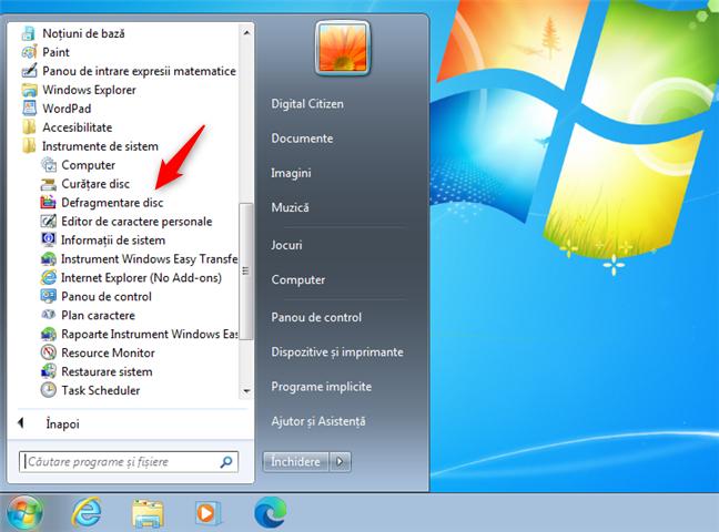 Comanda rapidă pentru Defragmentare disc în Windows 7