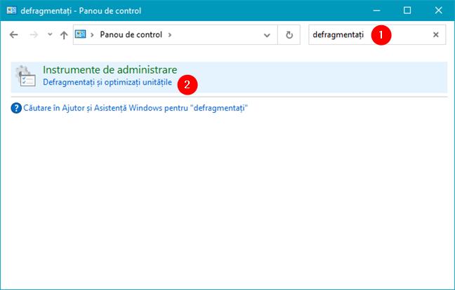 Caută termenul defragmenta în panoul de control din Windows 10