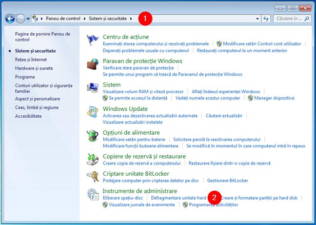 Deschide defragmentare disc din Panoul de control în Windows 7
