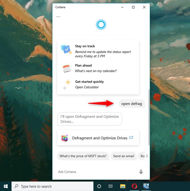 Deschide Defragmentare și optimizare unități folosind Cortana