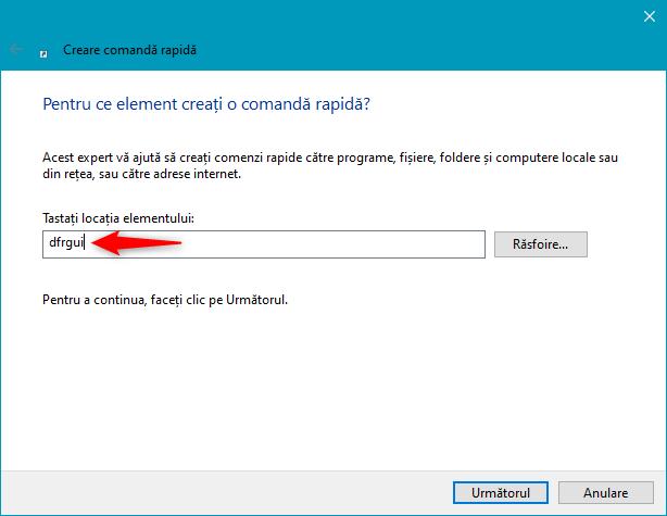 Creează comandă rapidă pentru Defragmentare și Optimizare Unități în Windows