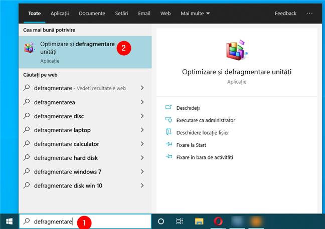 Caută Optimizare și defragmentare unități în Windows 10