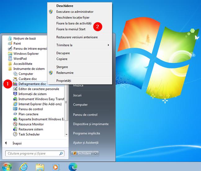 Fixează Defragmentare disc la Meniul Start sau la bara de activități în Windows 7