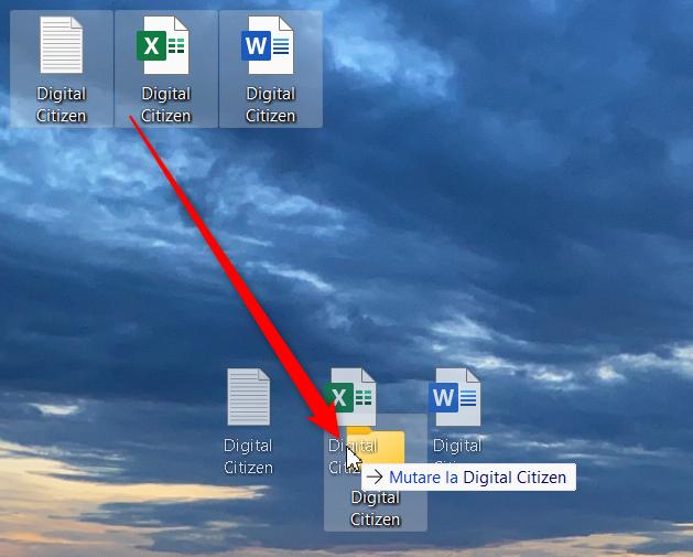 Trage și plasează fișierele într-un folder pentru a le muta