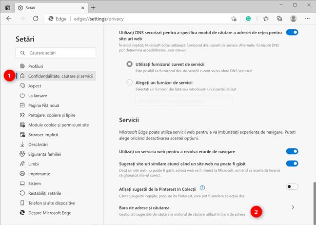 Accesează setările de căutare din Microsoft Edge