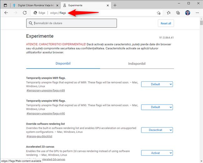 Accesează Experimente în Microsoft Edge