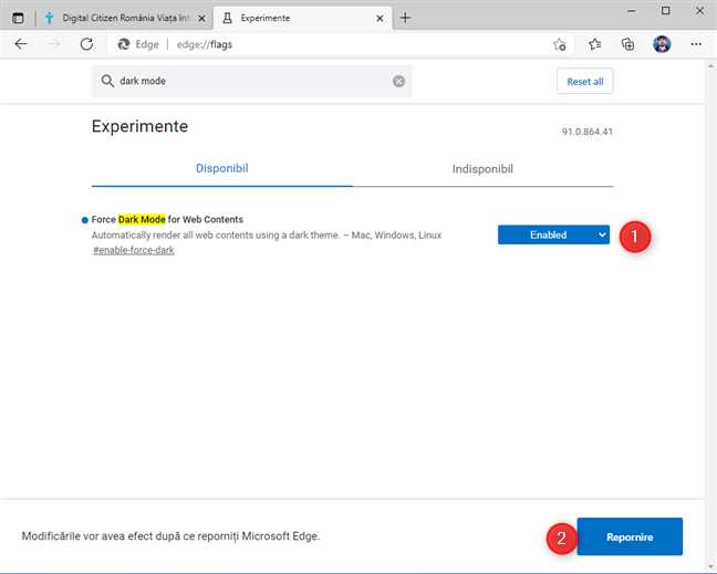 Activează Force Dark Mode for Web Contents