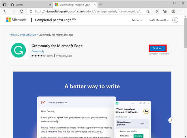 Apasă Obțineți pentru a include extensia în browser