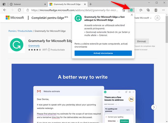 Extensiile Microsoft Edge adaugă o pictogramă la browser