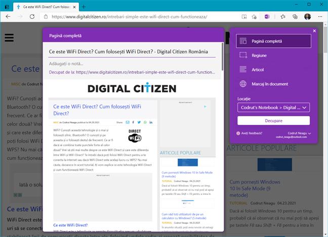 OneNote Web Clipper - Completări pentru Edge